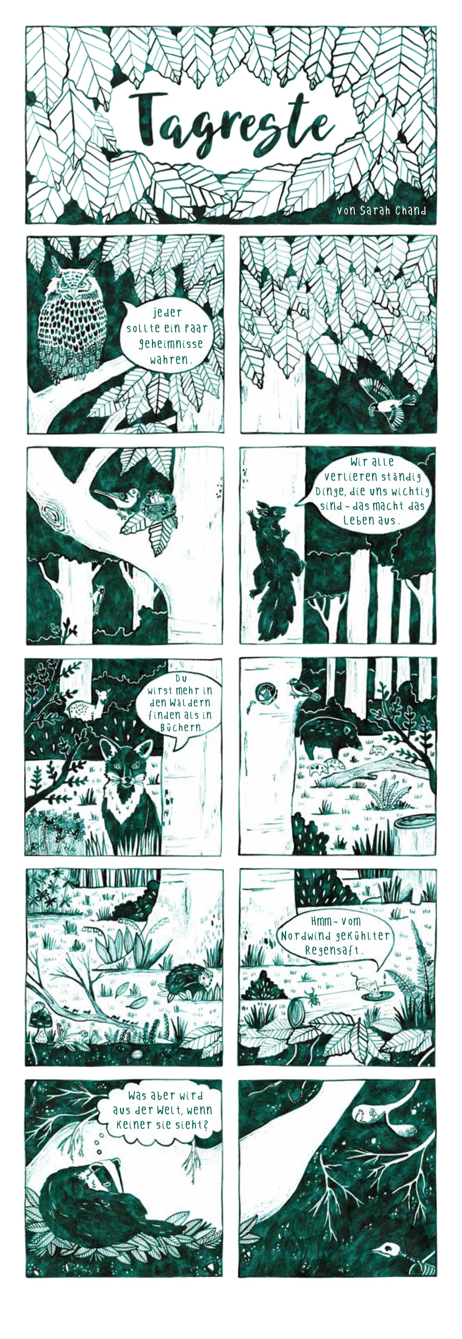 Comicstrip von Sarah Chand fuer das Comicmagazin Pure Fruit (Ausgabe 15)