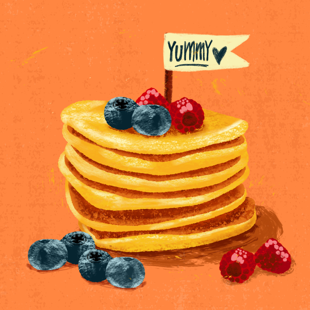 sarah chand food illustration pancakes pfannkuchen (digitale illustration)