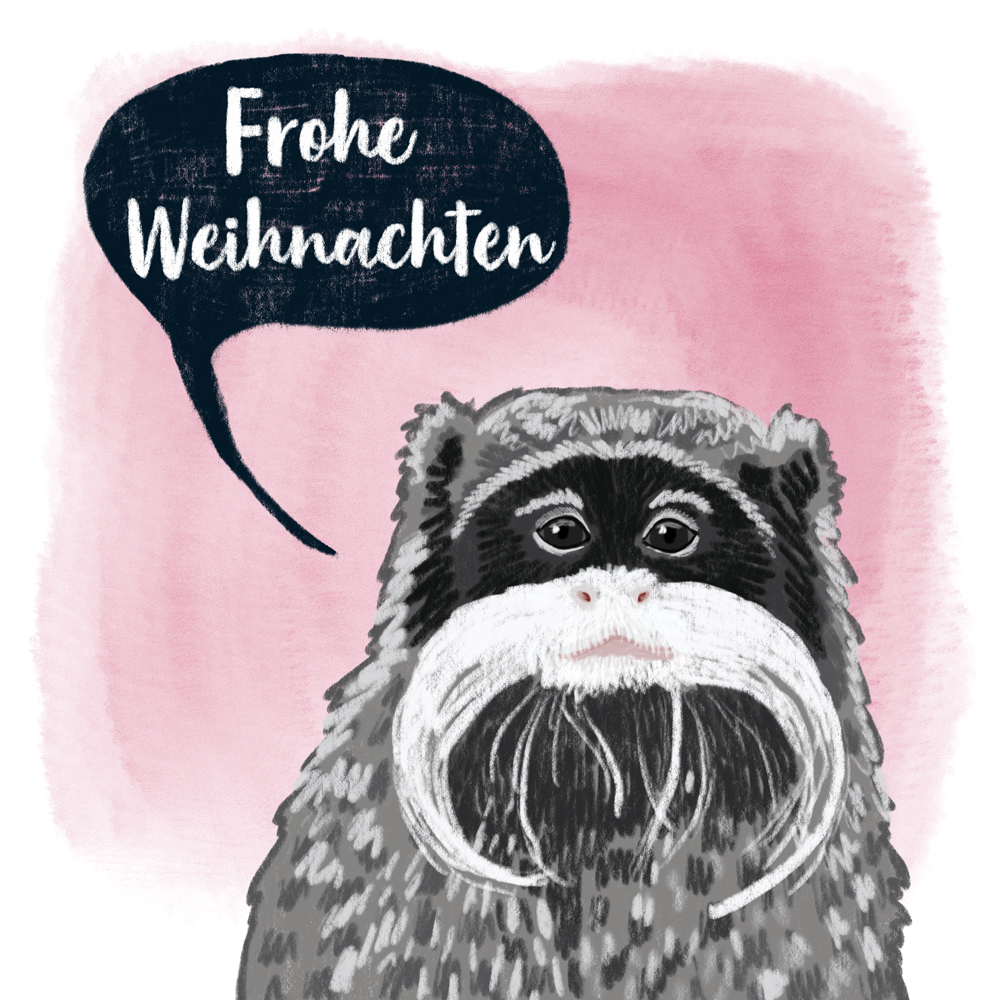 sarah chand digitale illustration Lieblingstier Kaiserschnurrbarttamarin